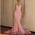 Mermaid Halter Backless Blush Pink Lace Long Prom Dresses with Beading