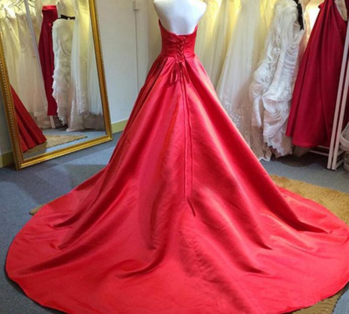 Strapless Long Red Formal Occasion Dress Long Prom Dresses, Elegant Evening