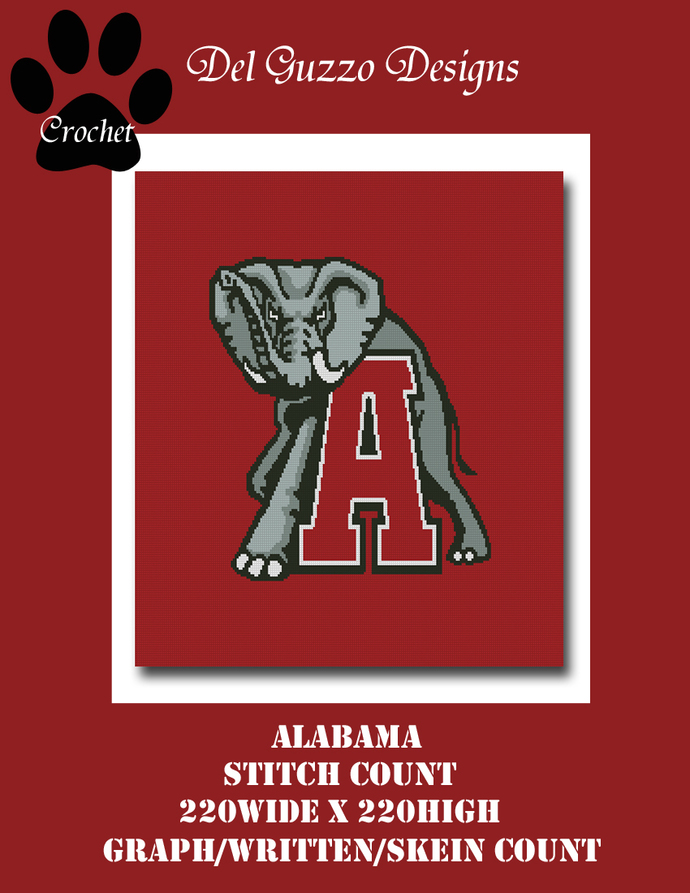Alabama Crimson Tide Crochet Graph Pattern