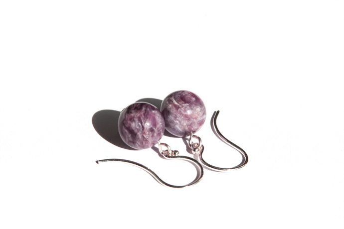 Charoite Sterling Earrings Shimmering Natural Purple Stone Earrings Lilac