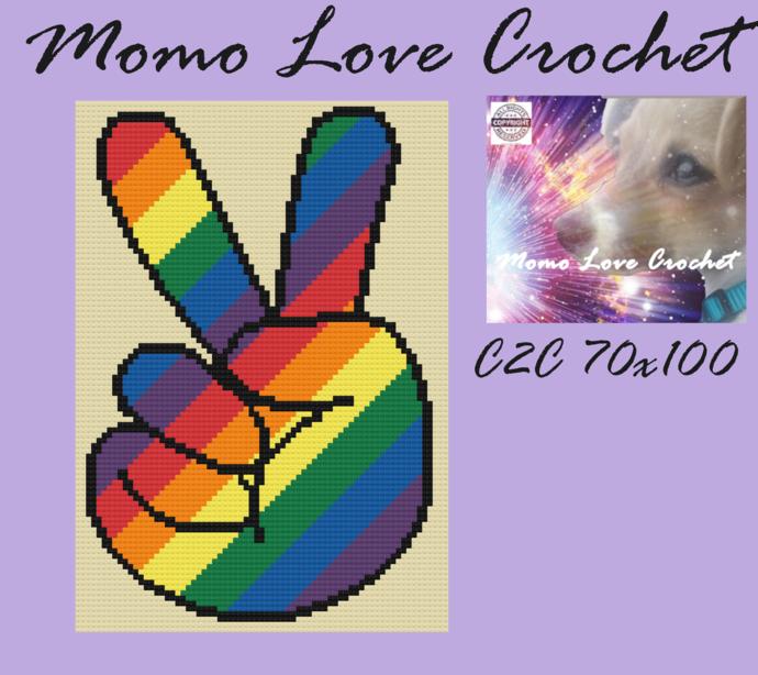 Peace and Rainbows C2C 70x100