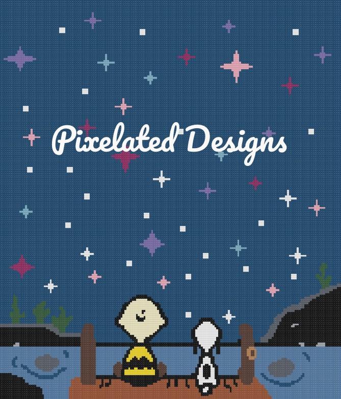 Charlie Brown & Snoopy Lake View Pattern - SC - HDC - 180x210 Throw - Graph