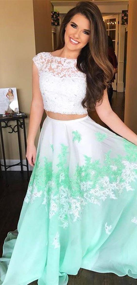 b1da9c8a2e Charming White Top Mint Green Long Evening by fancygirldress on Zibbet