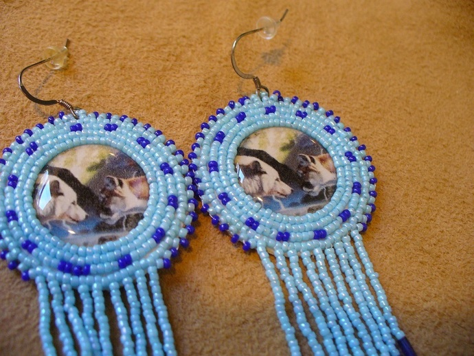 Native American Style Rosette Beaded The Face Off Earrings in Light and Dark