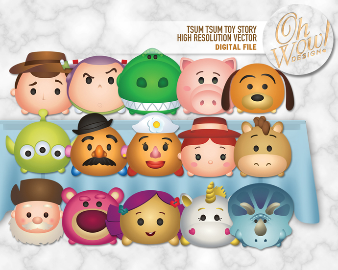 Large Format Tsum Tsum Toy Story Character Illustrations: Digital Files