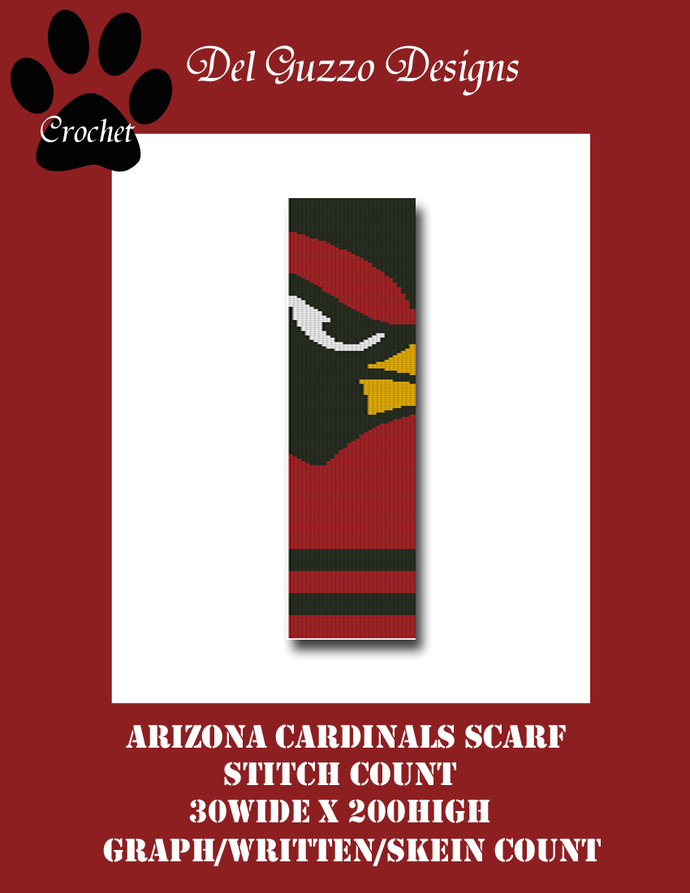 Arizona Cardinals Scarf Crochet Graph Pattern