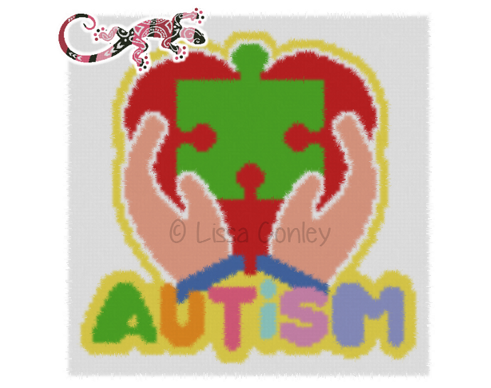 Autism Graphghan Pattern LG Adult Throw for C2C & Bobble