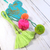Boho Paper Gift Tag with Dangle Pom pom Tussles - Turquoise, Green, Pink