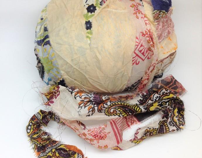 Boho Gypsy Silk Sari Ribbon Variegated CREAM Beige Browns 3 or 5 Yard lengths