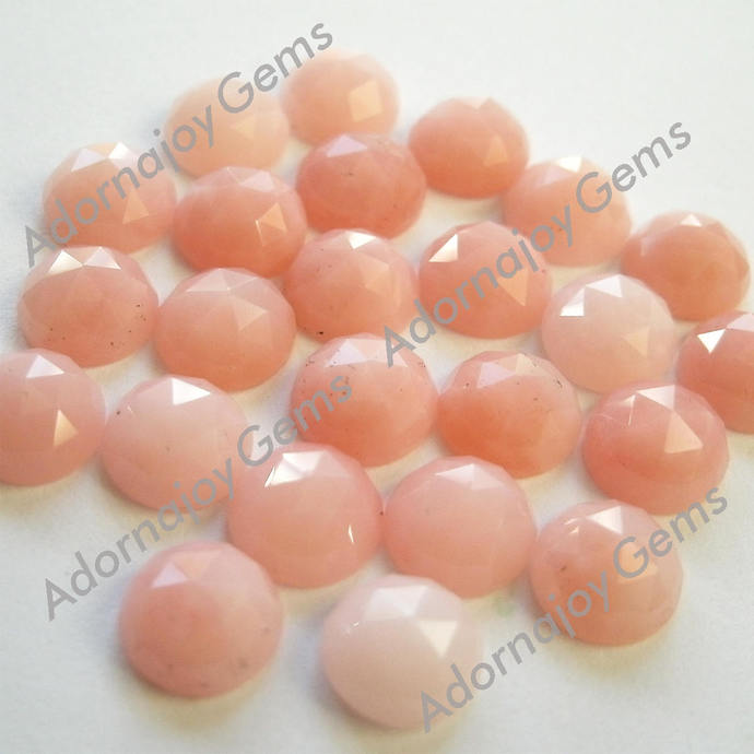 Pink Opal 4mm Gemstone Cabochon Rose Cut FOR FIVE