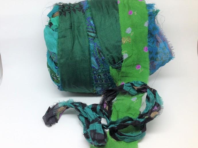 Boho Gypsy Silk Sari Ribbon Variegated GREEN 3 or 5 Yard lengths