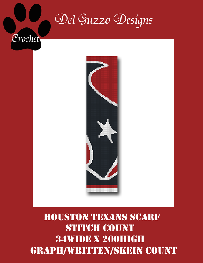 Houston Texans Bull Scarf 34x200