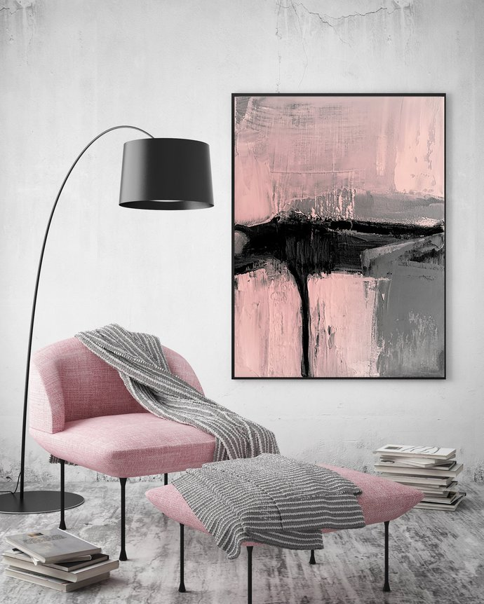 Blush Pink Printable Abstract Art - Pink & Grey Wall Art - Geometric Art -