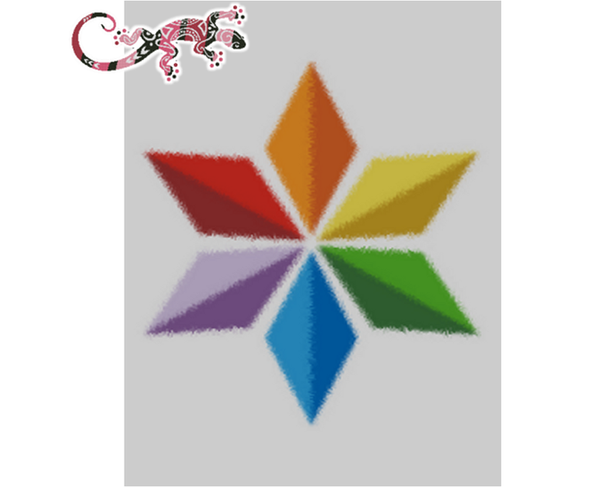 Colorific 6 Point Star Graphghan Pattern Queen Bed for SC