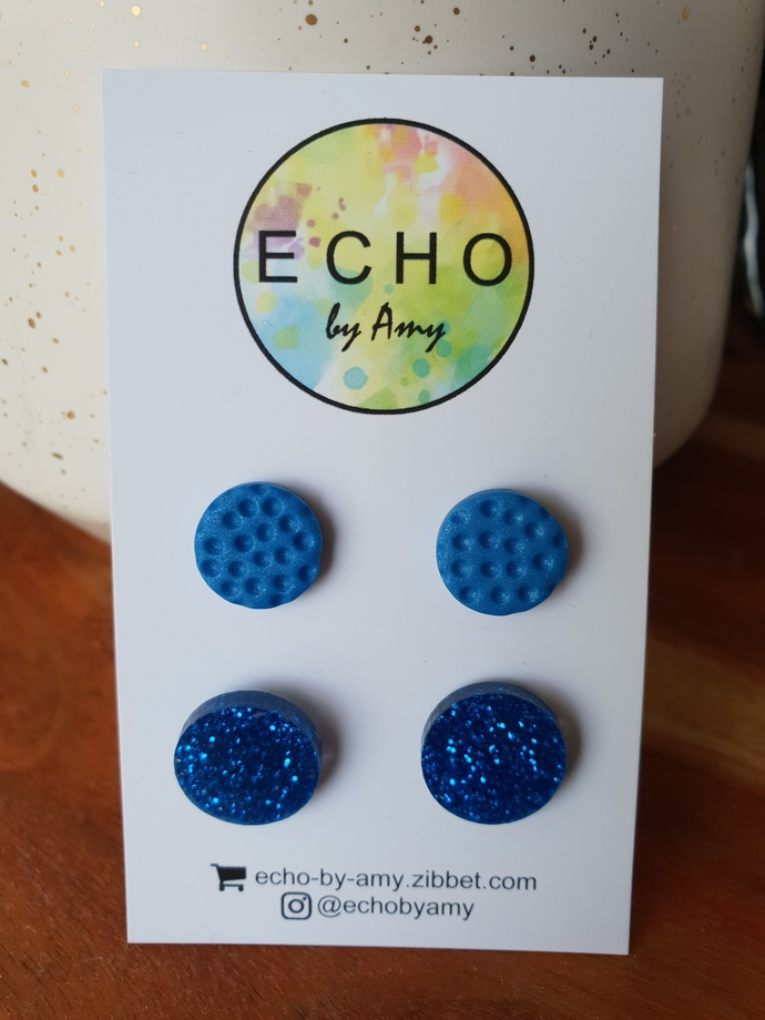 Mixed Double Stud Pack - blue/blue glitter