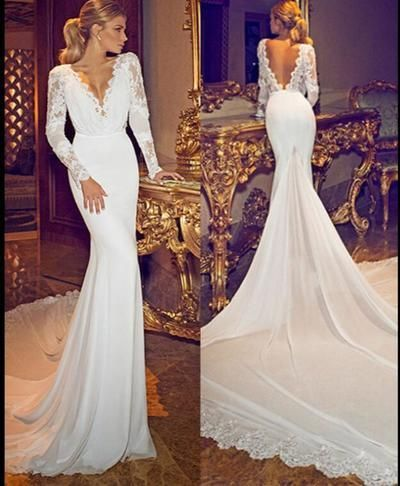 2d3713c90cc9 Chiffon Lace Deep V Neck Long Sleeves Wedding Gowns Open Back Sexy Lace  Wedding