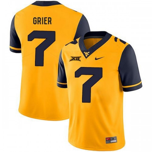 Men s Will Grier Jersey  7 West Virginia Mountaineers Football Yellow 5e16e3499