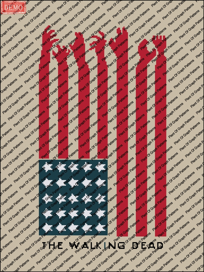 walking dead american flag graph and written graphghan pattern