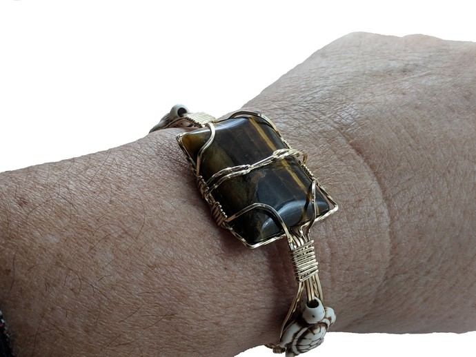 14K gold filled,hand wrapped,brown stripe tiger eye, howalite tutrles,one of a