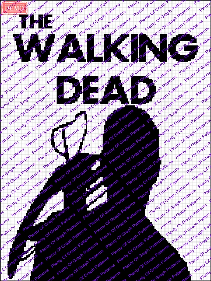 Walking Dead Silhouette graph and written graphghan pattern