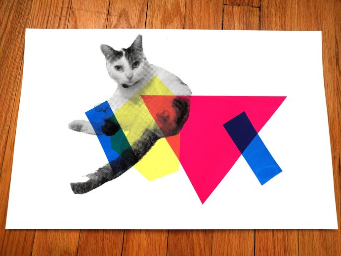 Cat Poster 80's Style Monoprint