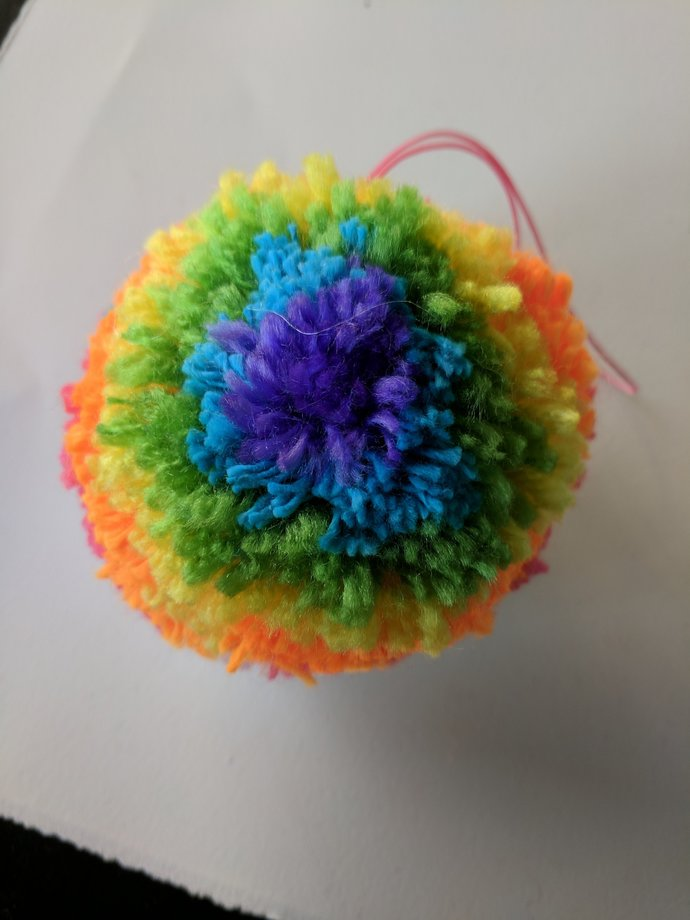 Giant Rainbow Pom Pom Key Chain Ornament by theseveneyedswan on Zibbet 60f0ea2c9