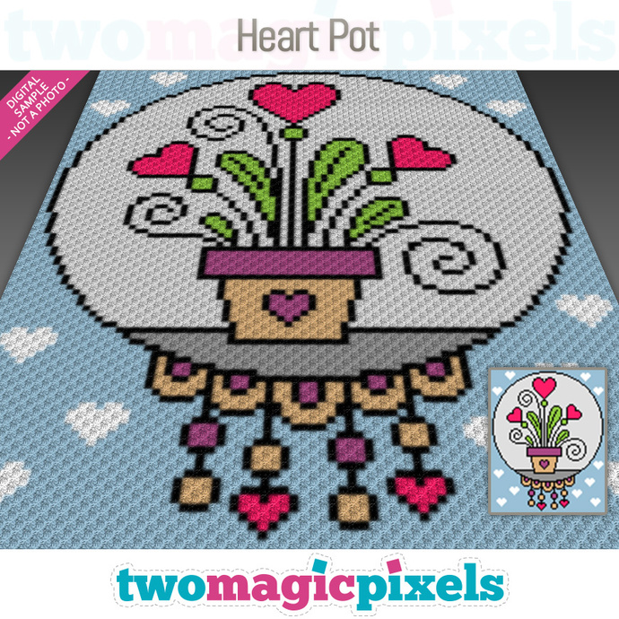Heart Pot crochet graph (C2C, Mini C2C, SC, HDC, DC, TSS), cross stitch,