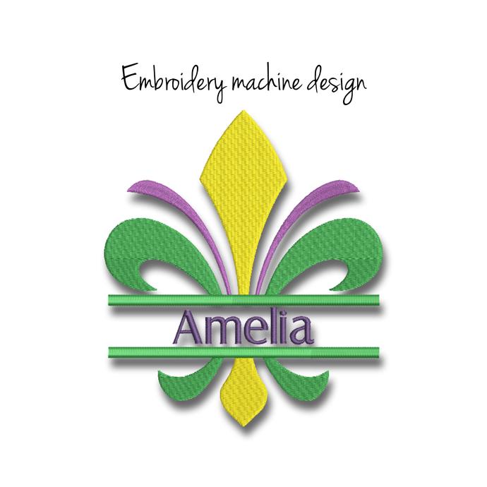 Machine embroidery design split fleur de lis mardi gras monogram digital
