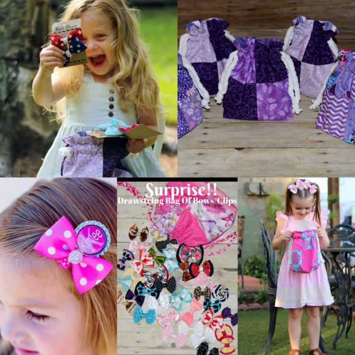 Drawstring Bag of HairBows, Flower Girl Gift Idea, Fabric Gift bag of bows,