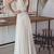 Simple Open Back With Lace Appliques Floor Length Wedding Dresses F520