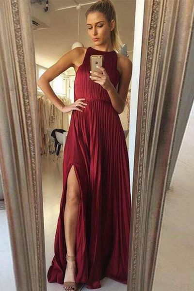 A-Line Round Neck Floor-Length Slit Burgundy Prom Dress with Pleats,Sexy Evening