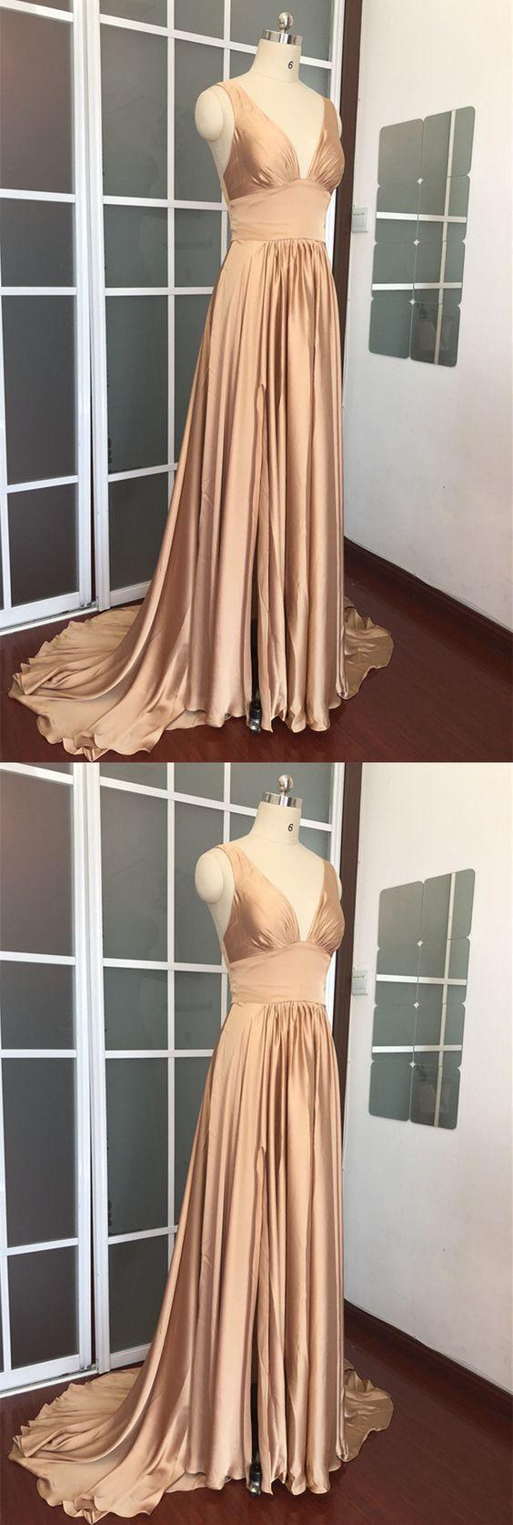 Champagne Bridesmaid Dresses,Chiffon Bridesmaid Dresses,Split Prom Dresses,Long