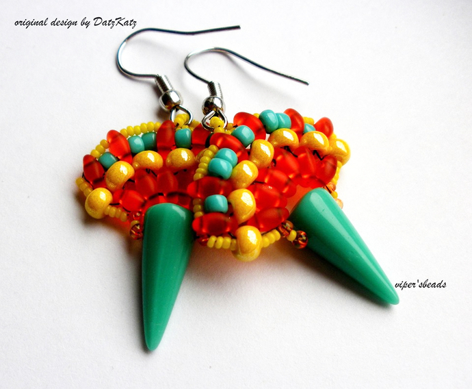 Tonatiuh Earrings Pattern by DatzKatz Designs
