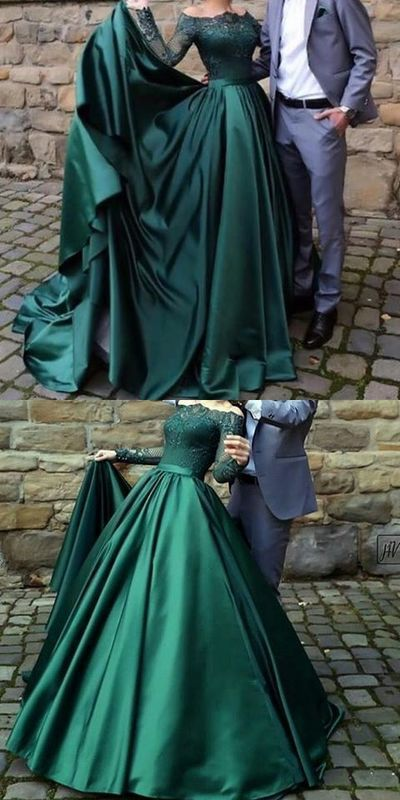 90ef6e19fca4c ... long sleeves, evening gowns with lace, a line party dresses wi. by  RosyProm. Modest dark green party dress, off the shoulder prom dresses ,prom  dress ...