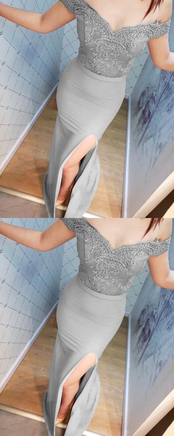 Silver Lace V-neck Off Shoulder Mermaid Split Bridesmaid Dresses