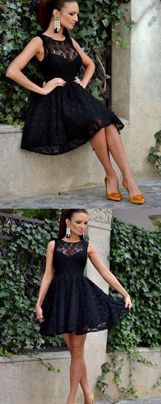 Black Lace Evening Party Dress, Elegant Short Homecoming Dress, Cheap Prom Dress