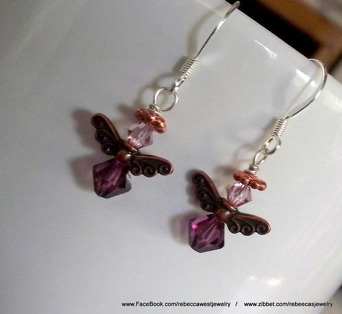 Pink & Purple Angel Earrings