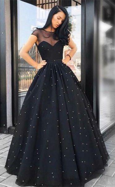29fdb71c3968 A Line Round Neck Floor Length Prom Dresses Black Hiprom. 2018 Black Africa Mermaid  Prom Dresses Long ...