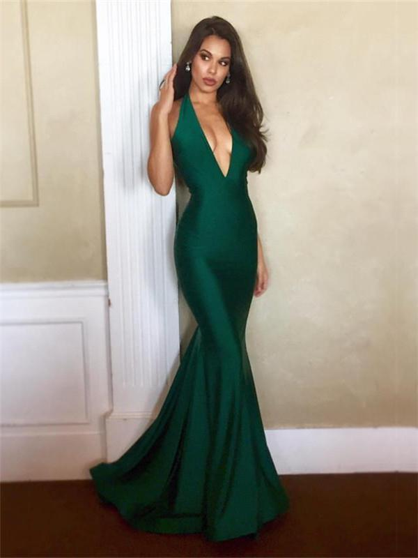 Sexy V-neck Prom Dresses, Mermaid Prom Dresses, Long Prom Dresses, Cheap Prom