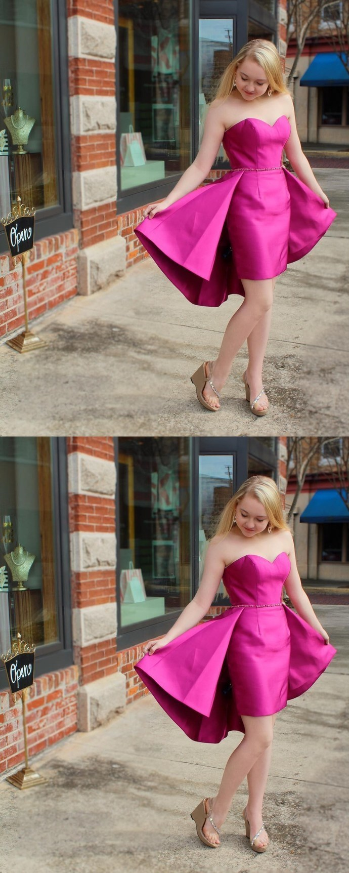Charming Short Party Dress, Satin Prom Dress, Sexy Hot Pink Prom Gowns