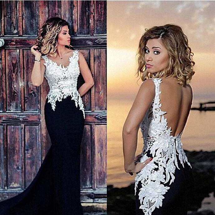 V-neck White Lace Top Black Satin Long Mermaid Sexy Backless Prom Dresses