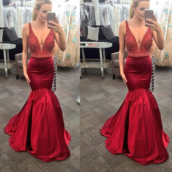 Sexy V-Neck Red Beaded Mermaid Satin Long Prom Dresses