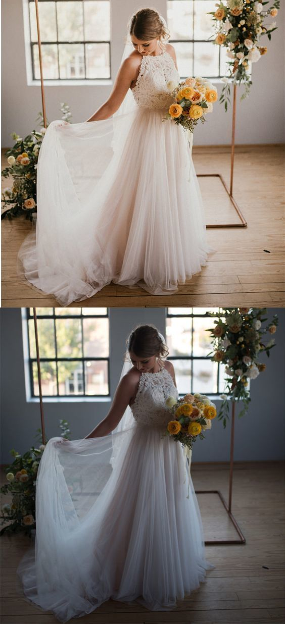 Charming Iovry Lace Appliques A Line Tulle Wedding Dress Bridal Gown