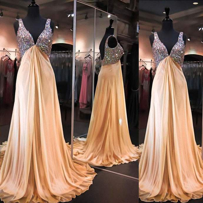 V-neck High Waist Rhinestone Long A-line Elegant Backless Chiffon Prom Dresses