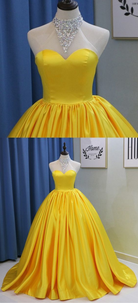 Yellow Satin Long Backless Bead Quinceanera Dress, Sweet 16 Prom Dresses