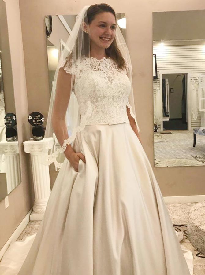 Charming Ivory Appliques A Line Wedding Dress, Elegant Bridal Gown with Cap