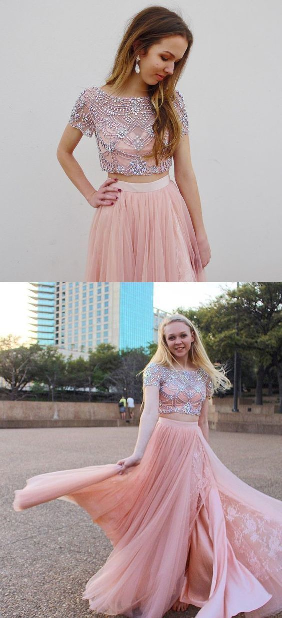 Charming Tulle Two Piece Prom Dress with Beading, Short Sleeve Pink Homecoming