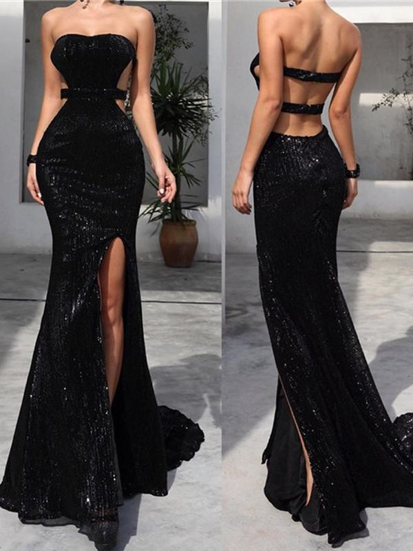 Strapless Long Mermaid Sexy Black Sequin Side Slit By