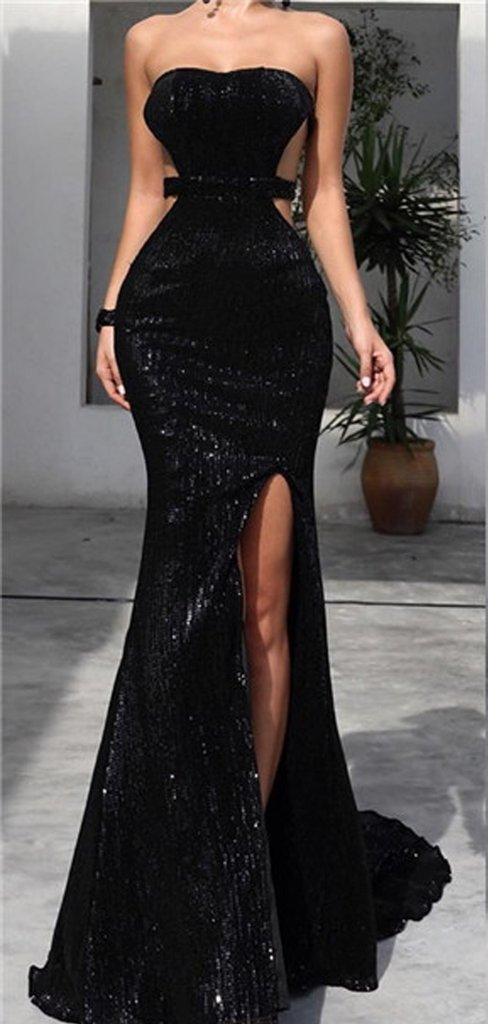 Strapless Long Mermaid Sexy Black Sequin Side Slit Prom Dresses