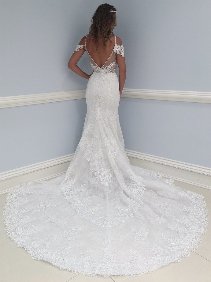 Charming Tulle Appliques Lace Mermaid Wedding Dresses, Open Back Tulle Wedding